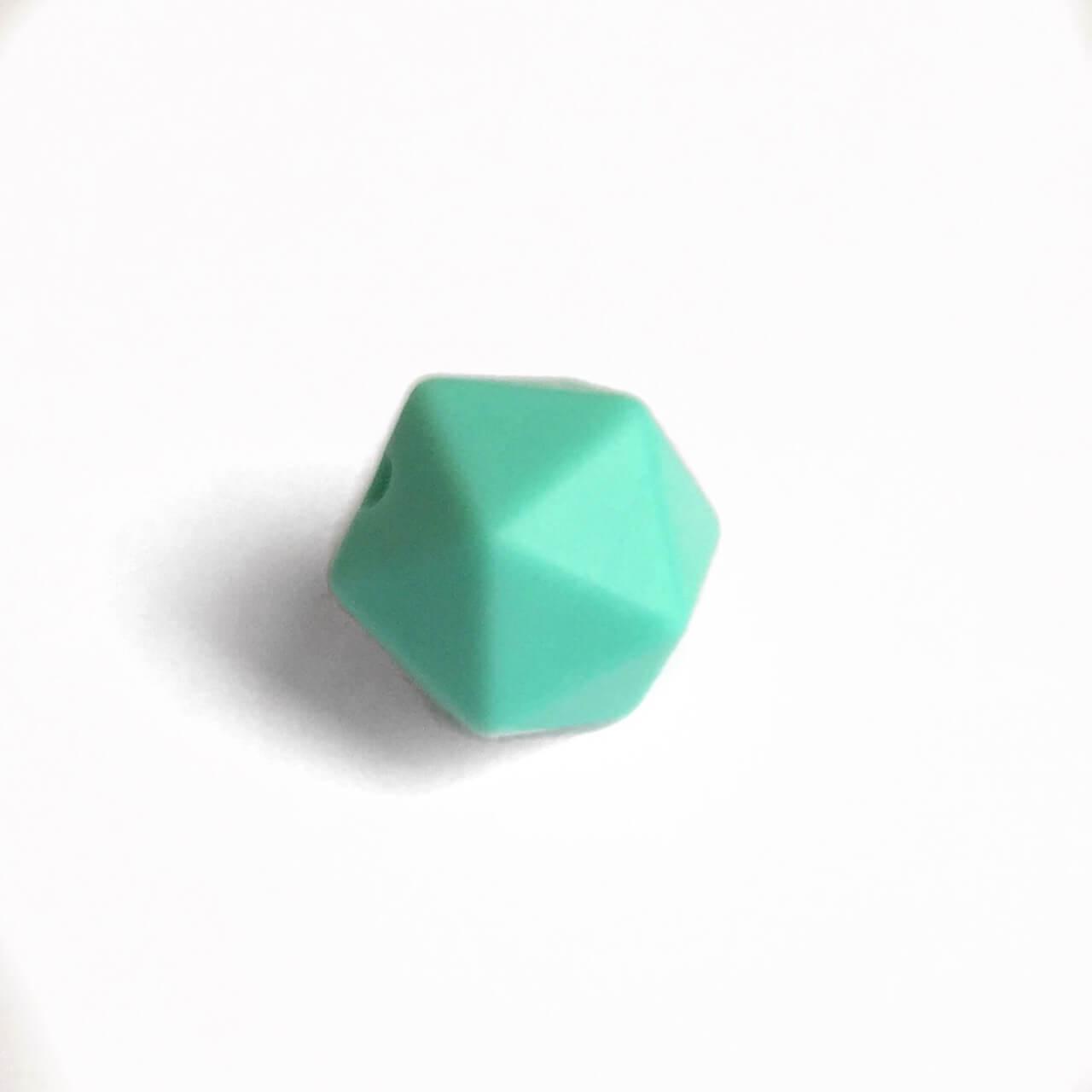 Мини икосаэдр (бирюза светл.) 14мм, силиконовая бусина