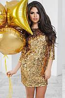 Блестящее платье на вечеринку Шайн, золото