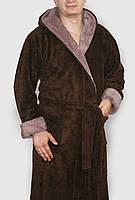 Халат махровый мужской длинный темно-коричневый с капюшоном и карманами, фото 1