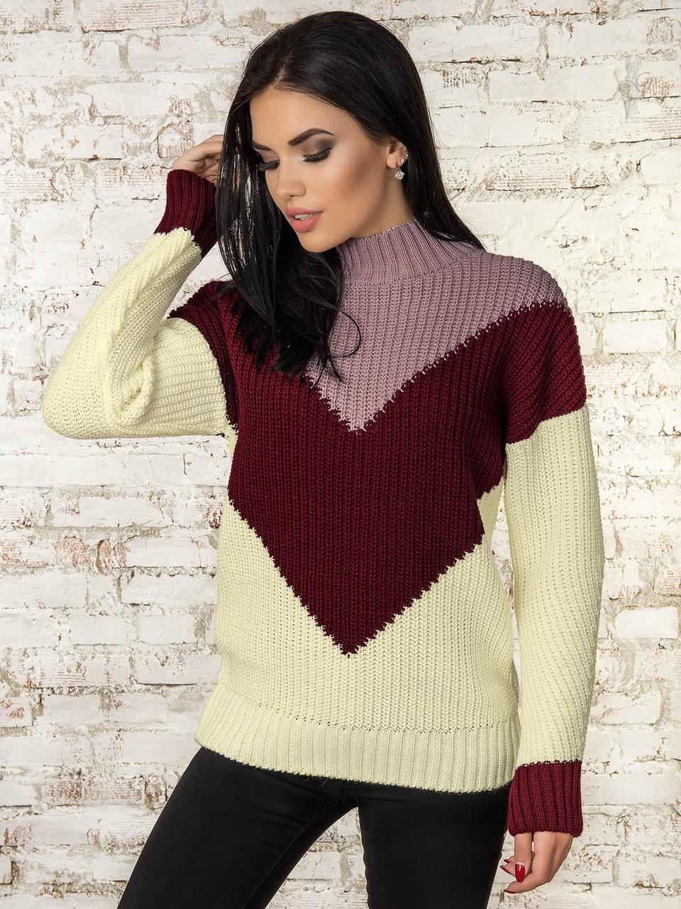 Женский зимний свитер теплый Кира-3 под горло Шерсть-Акрил