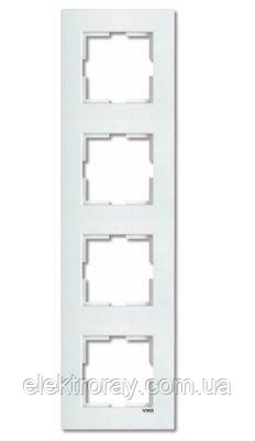 Рамка 4-местная вертикальная белая Viko Karre