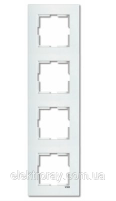 Рамка 4-местная вертикальная белая Viko Karre, фото 2