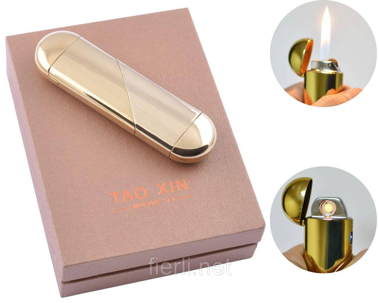 USB зажигалка в подарочной упаковке (Спираль накаливания, Обычное пламя) №4820