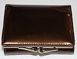 Кошелек женский коричневый лаковый, маленький, фото 2