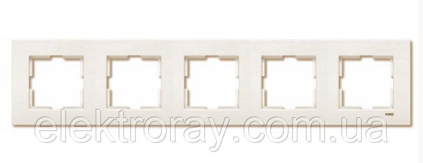 Рамка 5-местная горизонтальная крем Viko Karre, фото 2