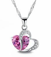 """Модна підвіска прикраса """"Серце"""" з рожевим кристалом на ланковий ланцюжку"""