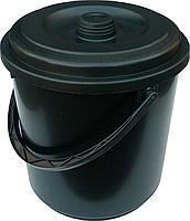 Ведро полиэтиленовое черное 10 литров с крышкой (Промсантехпласт)
