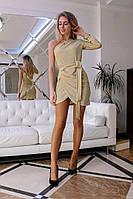 Женское красивое платье из люрекса с одним рукавом (3 цвета), фото 1