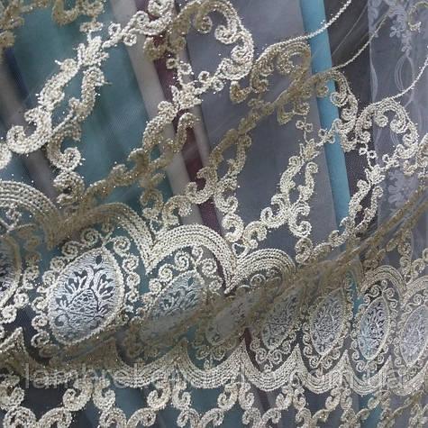 Тюль в зал, в гостиную, фатин с вышивкой цвет крем-золото Вилья-роял Голд