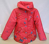 Куртка детская осень-весна Куртка, Для девочек, 104, Весна/осень, Цветочный принт и растительные узоры, Алый
