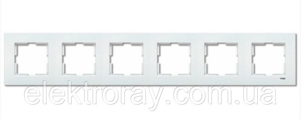 Рамка 6-местная горизонтальная белая Viko Karre
