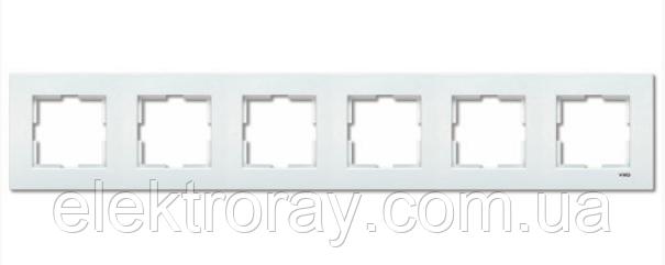 Рамка 6-местная горизонтальная белая Viko Karre, фото 2