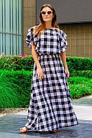 Женское платье в черно-белую клетку *Шерлиз*   44, фото 1