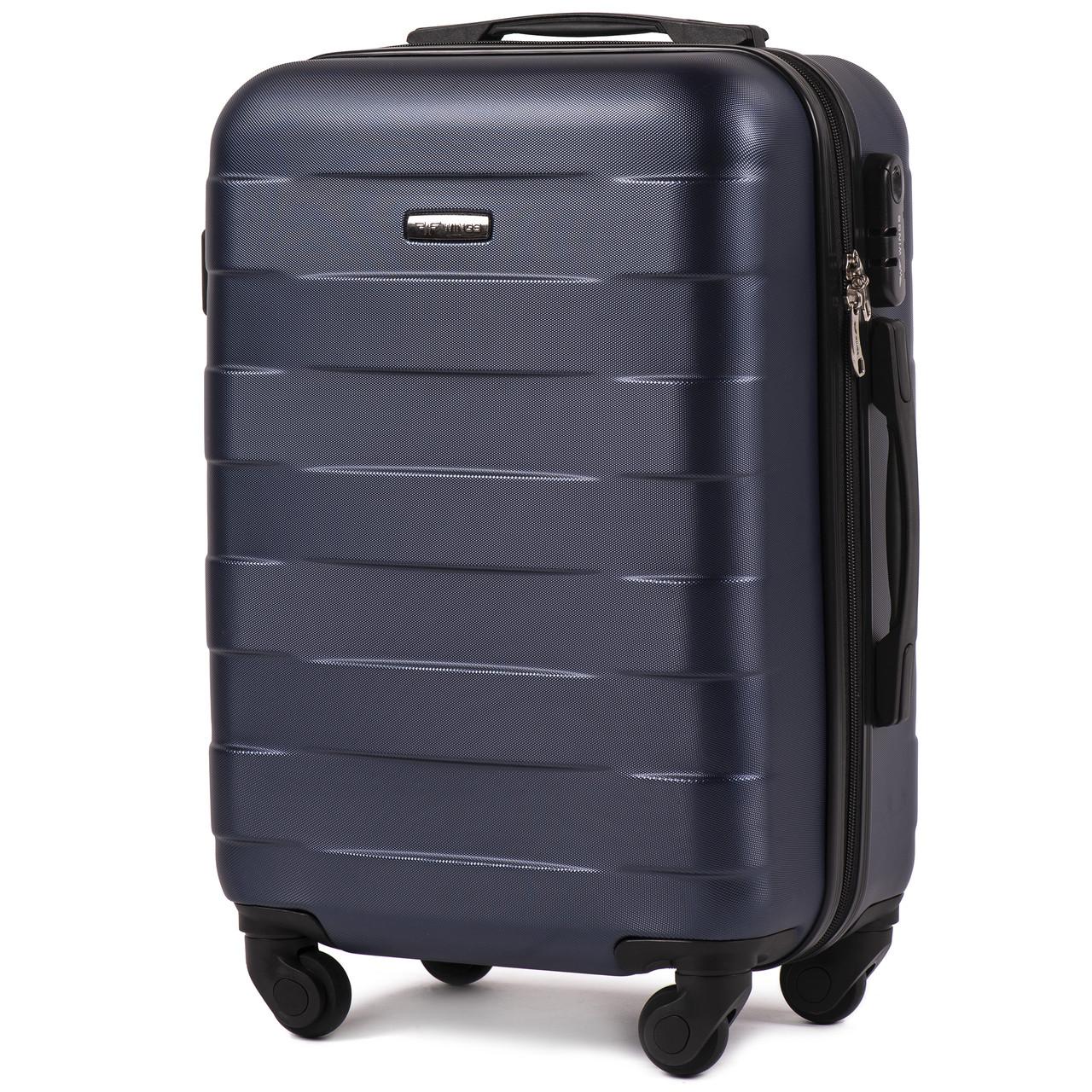 Малый пластиковый чемодан Wings 401 на 4 колесах синий