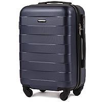Малый пластиковый чемодан Wings 401 на 4 колесах синий, фото 1