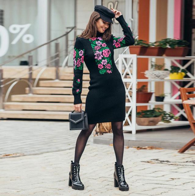 Платье женское с цветочным орнаментом - Оптово - розничный магазин одежды