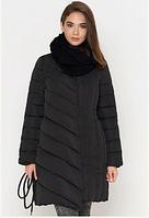 Куртка женская Braggart Tiger Force с поясом и шарфом черная топ реплика 4fceaefe739