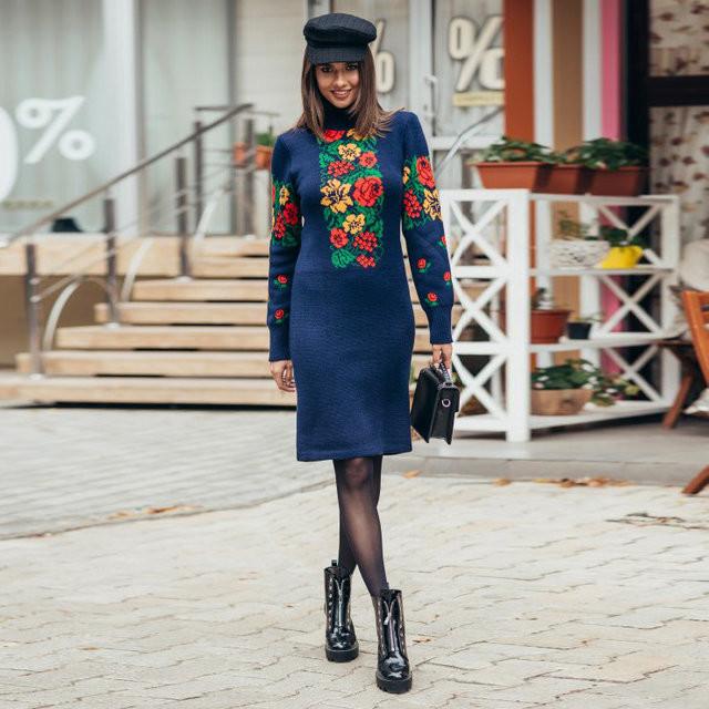 Вязанное платье длиной до колена  продажа 15414df8d9a0e