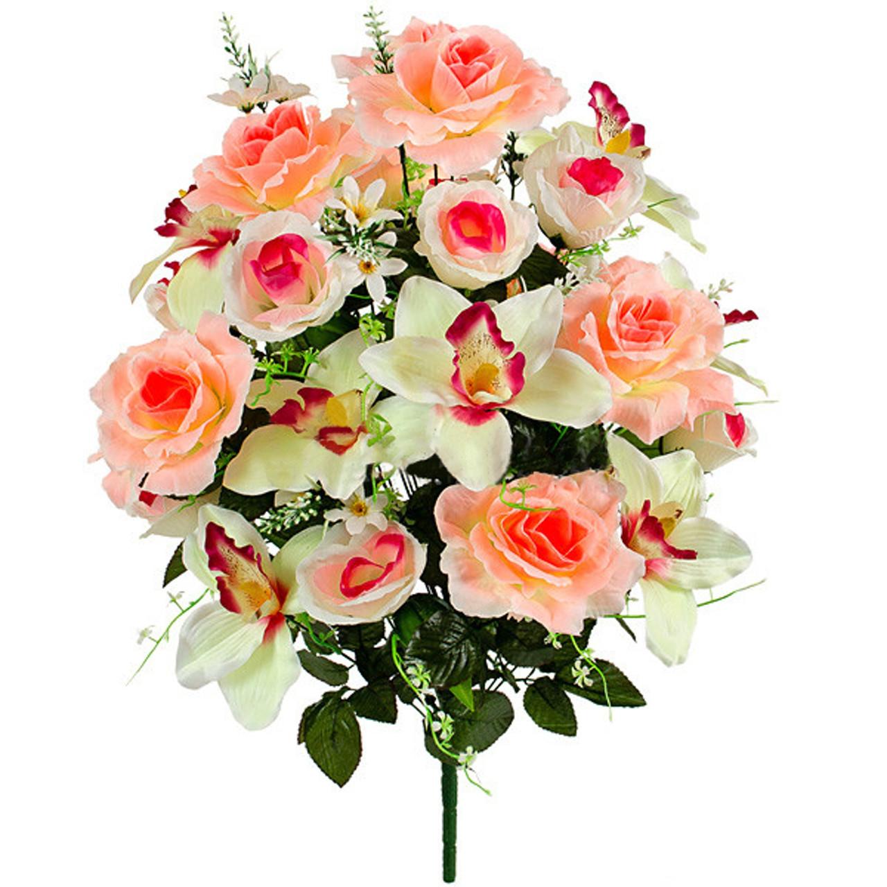 Букет искусственных роз с орхидеями гигант, 73см