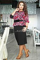 """Женское нарядное платье """"Баско шифон Роза"""" т. масло+шифон / батал / розовый+черный"""