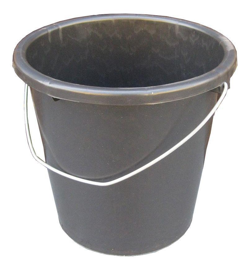 Ведро полиэтиленовое 10 литров чёрное с металлической ручкой (ПолимерАгро, Харьков)