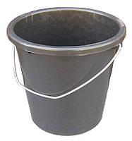 Ведро полиэтиленовое 10 литров чёрное с металлической ручкой (ПолимерАгро, Харьков), фото 1