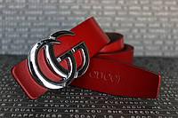 """Красный ремень Gucci пряжка серебро 35мм """"NEW"""""""