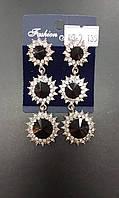 Серьги 012667 камни черного цвета
