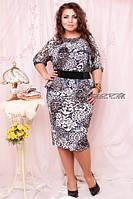 "Женское нарядное платье ""Баско шифон Лео серый"" т. масло+шифон / батал"