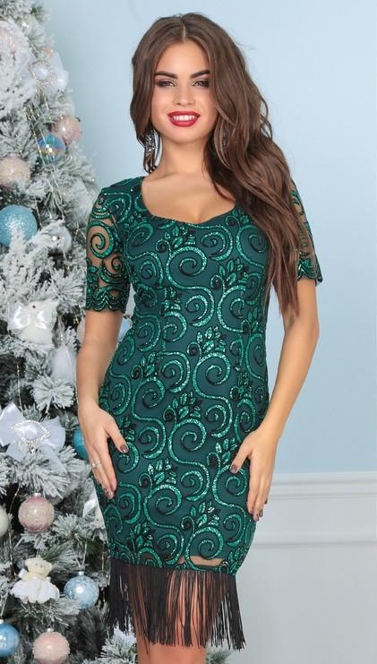 Т6012 Платье вечернее с вышивкой и бахрамой (размеры 42-46)