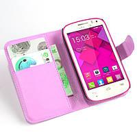 Чехол-книжка Litchie Wallet для Alcatel OneTouch POP C1 4015 / 4015D Розовый