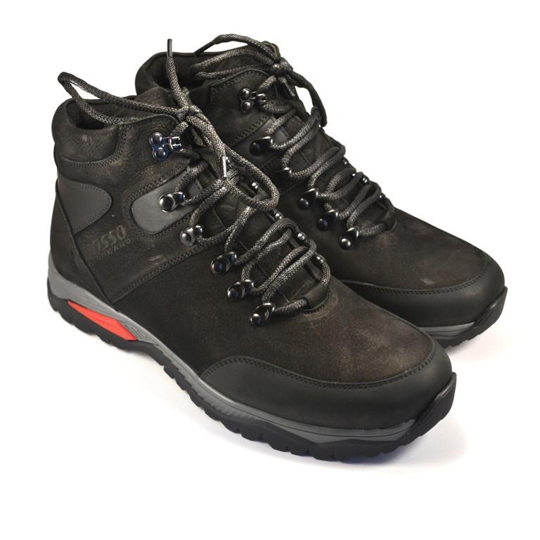 Зимние ботинки мужские из нубука Rosso Avangard Lomerback Black Nub черные