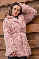 Розовая шуба Лама, экомех, фото 1