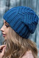 Голубая вязанная шапка Марта , фото 1