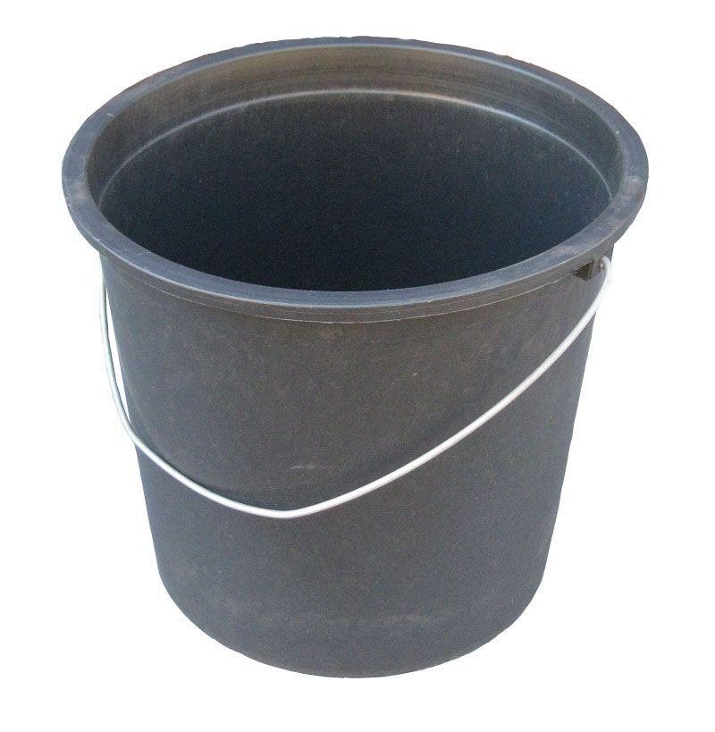 Ведро полиэтиленовое 17 литров чёрное с металлической ручкой (ПолимерАгро, Харьков)