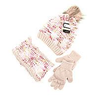 Шапка снуд перчатки Suve для 7-12 лет Розовый TUR 51231 pink, КОД: 152813