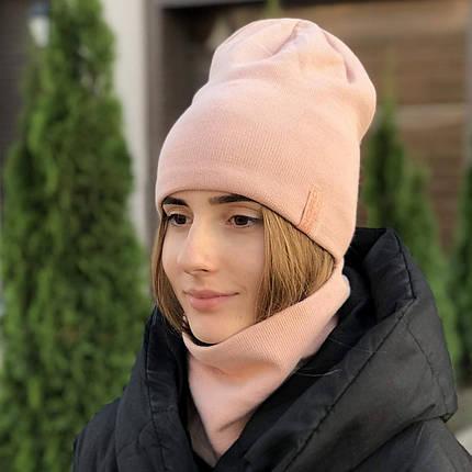 Комплект шапка и снуд утеплённая пудра, фото 2