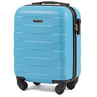 Микро пластиковый чемодан Wings 401 на 4 колесах голубой