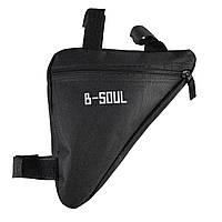 Сумка B-Soul в раму велосипеда трикутна чорна, фото 1