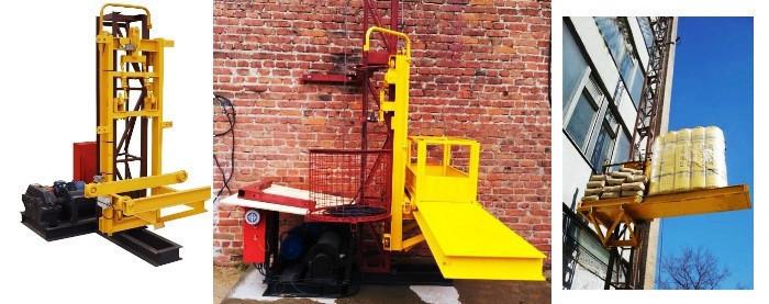 Висота підйому Н-65 метрів. Будівельний підйомник для оздоблювальних робіт з висувною платформою на 750 кг.
