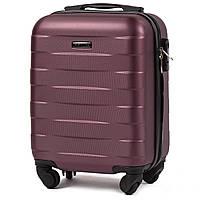 Микро пластиковый чемодан Wings 401 на 4 колесах бордовый