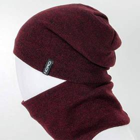 Комплект шапка и снуд утеплённая бордо