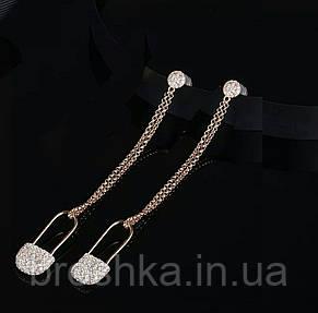 Длинные серьги джекеты цепочки булавки в позолоте, фото 2