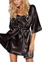 Халат Атласный  женский короткий Черный цвет размер 42-48