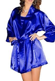 Халат женский короткий Атласный Ярко - Синий Электрик размер 42-48