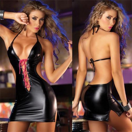 Сексуальное виниловое платье Martini с открытой спиной с декольте