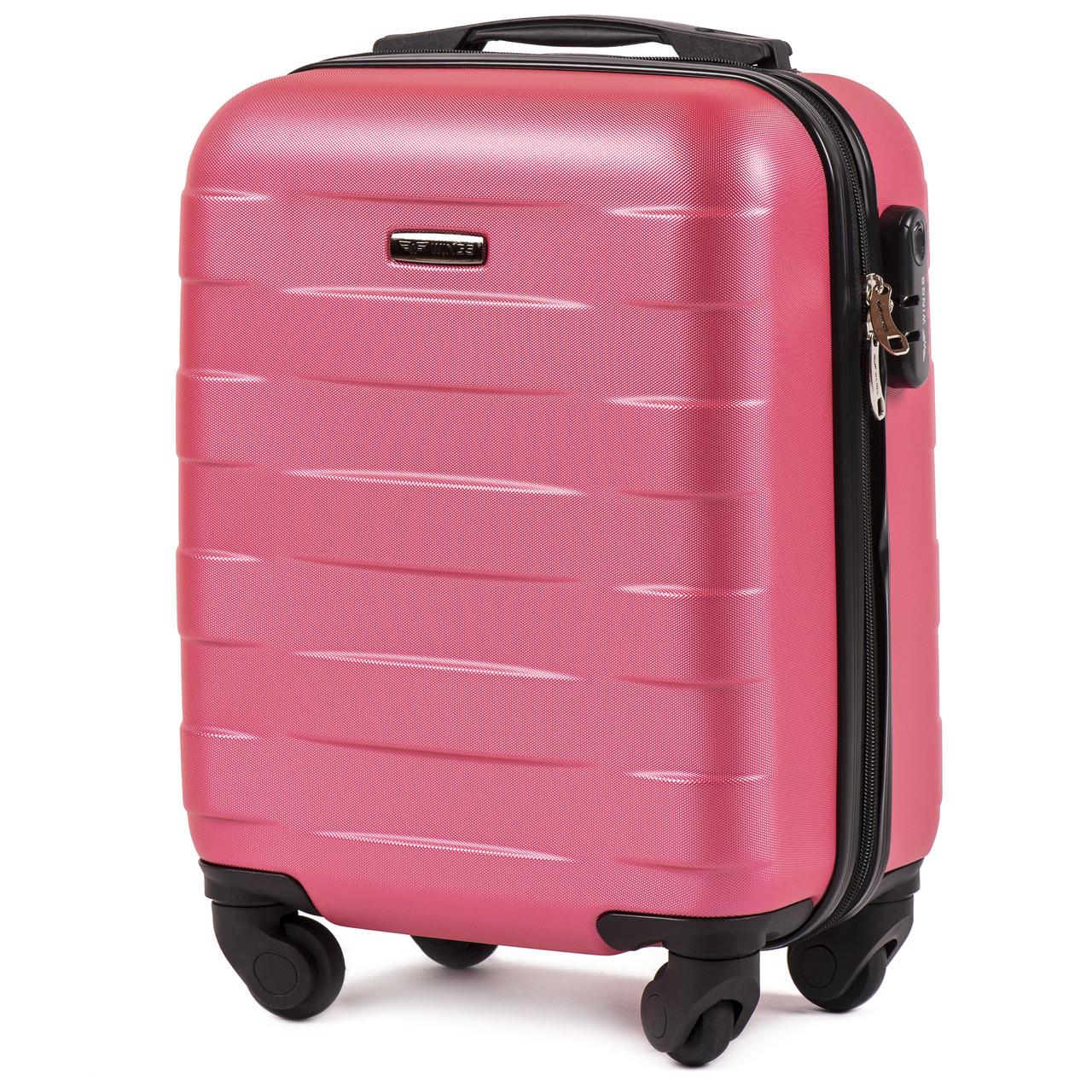 Микро пластиковый чемодан Wings 401 на 4 колесах розовый, фото 1