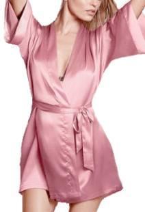 Халат женский короткий  Атласный  Розовый размер 42-48