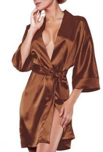 Халат жіночий короткий Атласний Молочний шоколад розмір 42-48