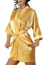 Халат женский короткий Атласный  Золотой размер 42-48